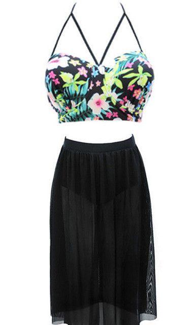 Floral Top with Long High Waist Skirt