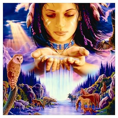 Native American Women Drawings | CafePress > Wall Art > Posters > Waterfall Woman Wall Art Poster: