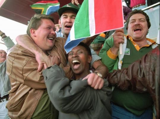 Witnessing South Africa evolve in person, onstage, and onscreen South Africans celebrate their country's victory over New Zealand in the 1995 rugby World Cup final in Johannesburg.