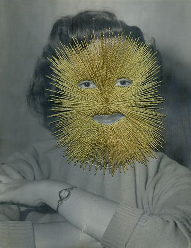 Jessica Wohl, Goldface, 2011. embroidery with gold thread on found photograph, 8 x 10 inches. Like this idea of sewing not a photograph has possibilities for students development and use of photography.