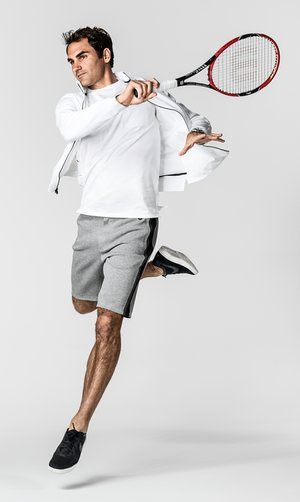 Tennis player Roger Federer wearing clothes from his news sportswear range with Nike