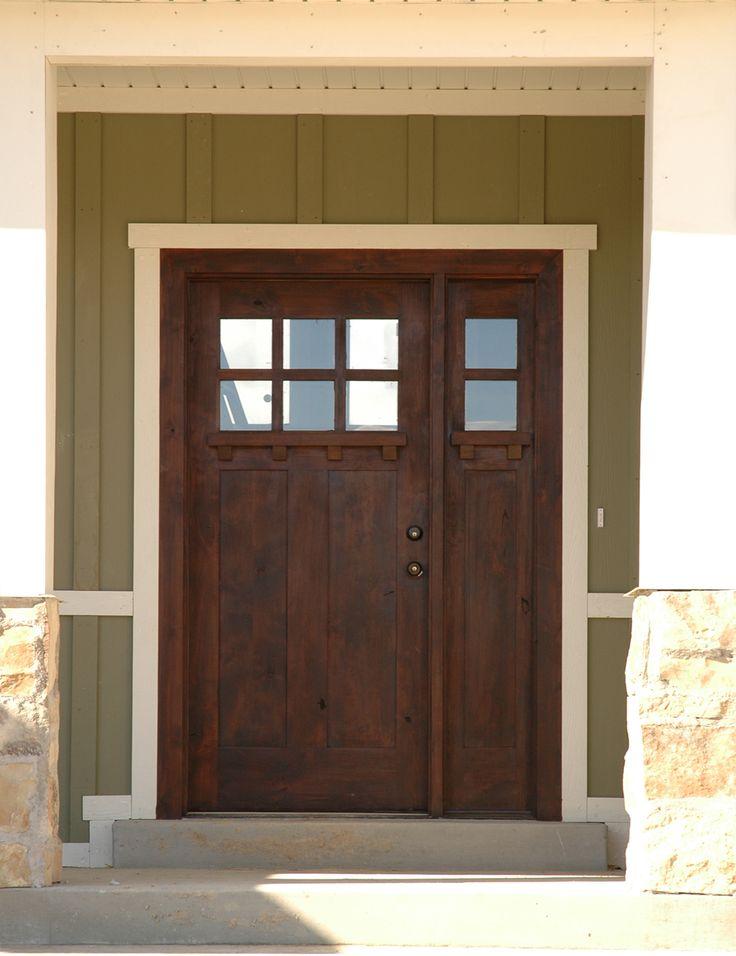 Knotty Alder Two Panel Craftsman Exterior Doors Photo