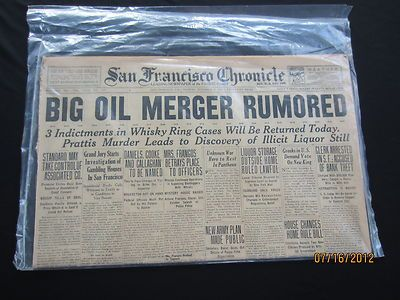 San Francisco Chronicle 1920 NEWSPAPER.   Very Cool and RARE!  MUST SEE Please Repinit and Have a GREAT Friday!!