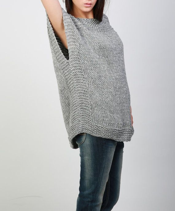 New design for this FALL/ WINTER! This beautiful and unique tunic sweater vest will make you stylish and on trend. It is made of 100% eco cotton yarn in a nice grey shade. No itch at all! It has unique trim pattern designed on top neckline, sides and bottom.   It is features on: 1. drop shoulder style 2. unique trim pattern designed on top neckline, sides and bottom. 3. rolled edge at neckline and hemline.  Other colors are coming up!  Size: S(us 0-4) M(us 6-8) L(us 10-12). . Ready to ship…