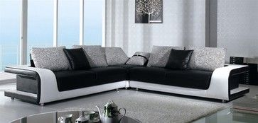 Black and White Sectional Sofa in Top Grain Leather modern-sectional-sofas
