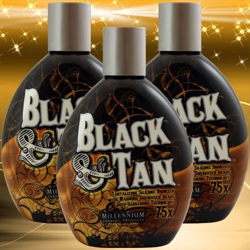 3 Pack Millennium BLACK & TAN 75X Bronzer Accelerator Indoor Dark Tanning Lotion 13.5 Ounce SIze by Millennium Tanning Products. $57.96. 75x Bronzing for fast results!. Exotic blackening ingredients infused with antioxidants. Great for Indoor or outdoor tanning. Experience stunning dark tan color and ultra moisturization that lasts all day!. Tantalizing Silicone Bronzer with Warming Energy Beads. Unique Auto-Darkening Tan Technology delivers extreme dark bronze ...