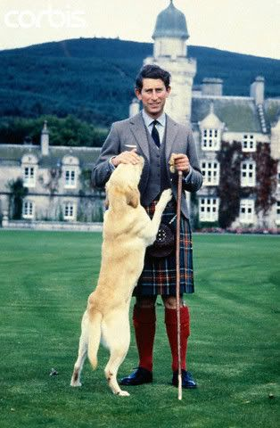 HRH Prince Charles kilted and Harvey his labrador                                                                                                                                                                                 More