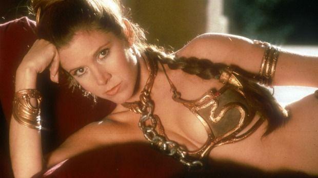 Princess Leia (Carrie Fisher) in that famous gold bikini in Return of the Jedi.