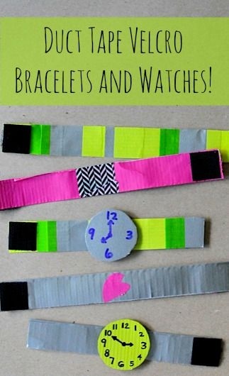 Duct Tape Bracelet! - duct tape (and washi tapes) - velcro squares - printer paper - permanent marker - scissors