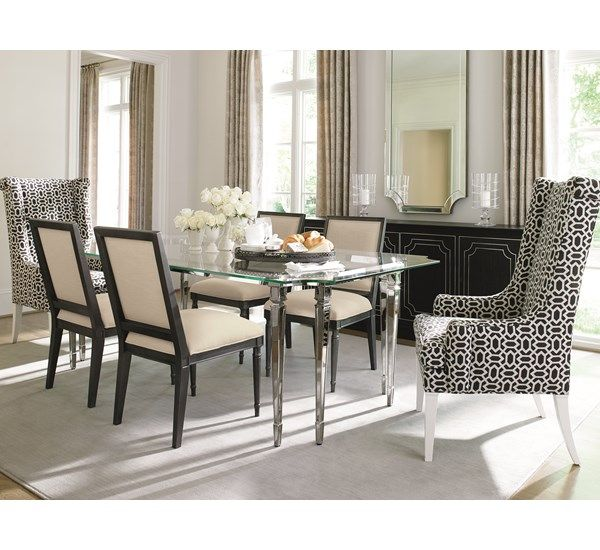Glass Top Table With Upholstered Chairs Caracole Dining Room