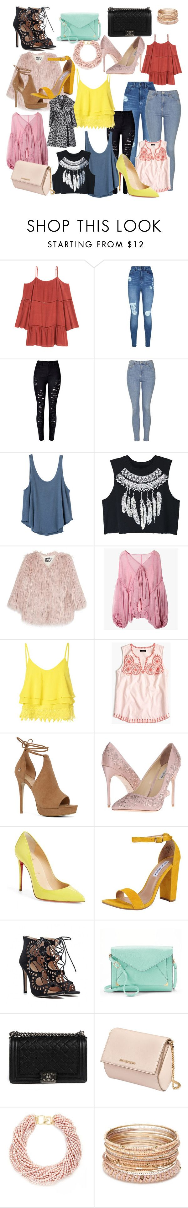 """Untitled #40"" by xaxa-szasza on Polyvore featuring Lipsy, WithChic, Topshop, RVCA, Pam & Gela, Glamorous, J.Crew, ALDO, Benjamin Adams and Christian Louboutin"