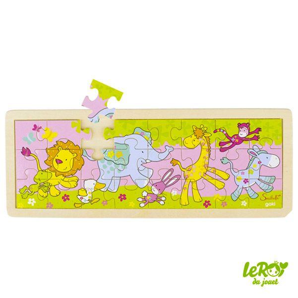 Puzzle Susibelle en bois 24 pièces avec contour en bois, lion, éléphant, girafe, lapin, singe, âne, canard Leroy du jouet