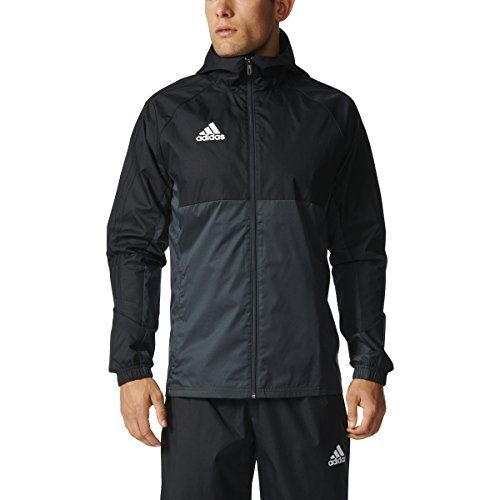 Adidas Tiro 17 Mens Soccer Rain Jacket XS Black-Dark Grey-White