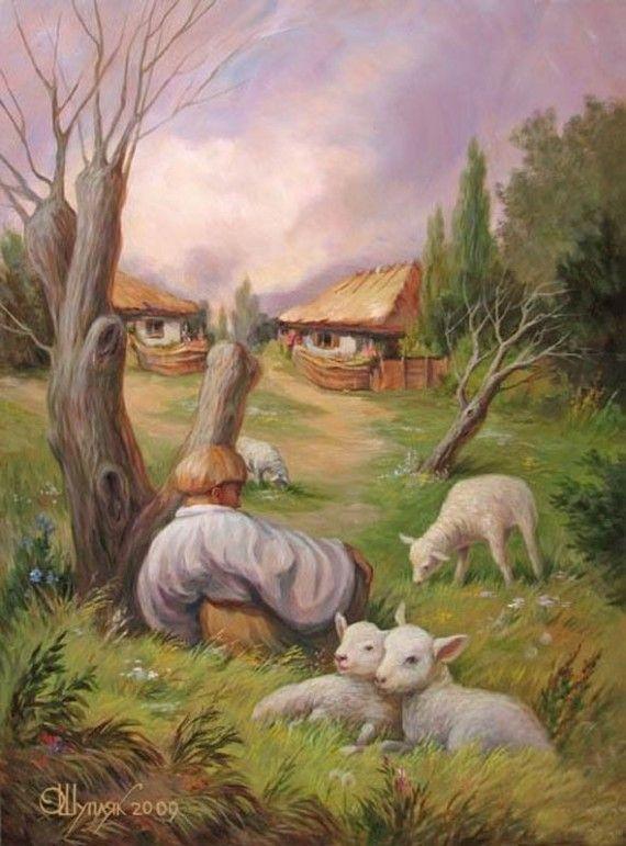 Voorjaarstafereel: weid met verborgen gezicht. Geschilderd door Oleg Shuplyak.