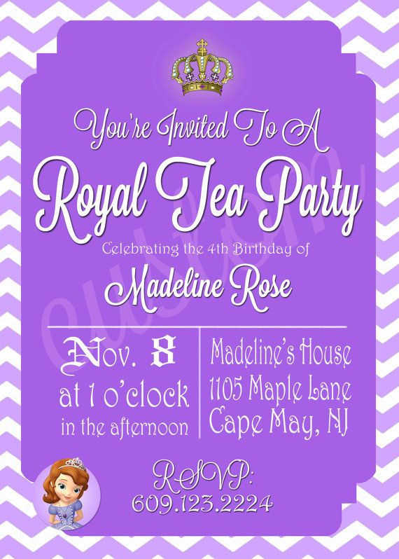 Sofia The First Party Invitation by ChampagneCelebration on Etsy