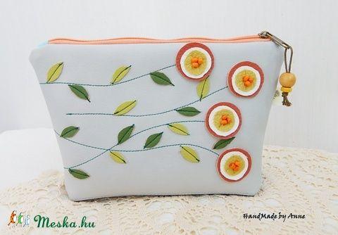 Anne narancs virágos két színű neszesszere (annetextil) - Meska.hu