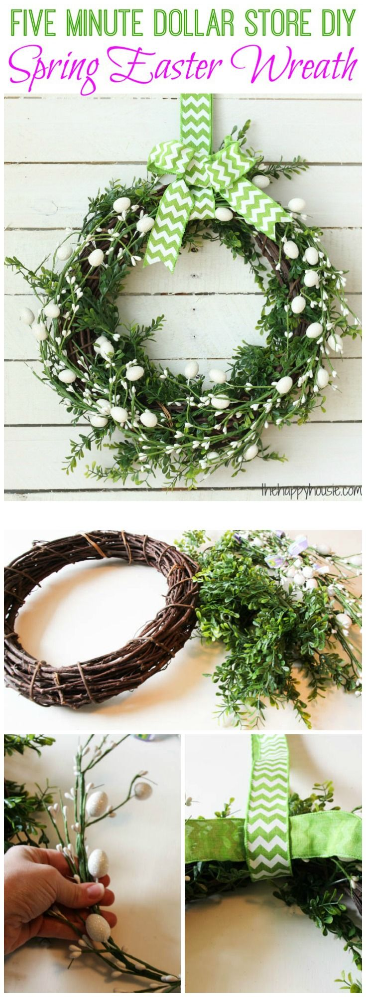 How to make your own Five Minute Dollar Store DIY Spring Easter Wreath at thehappyhousie.com - This quick and easy wreath will take you five minutes using supplies mainly from the dollar store and is a beautiful spring Easter wreath to dress up your front door or anywhere else in your home that needs a little springy touch.