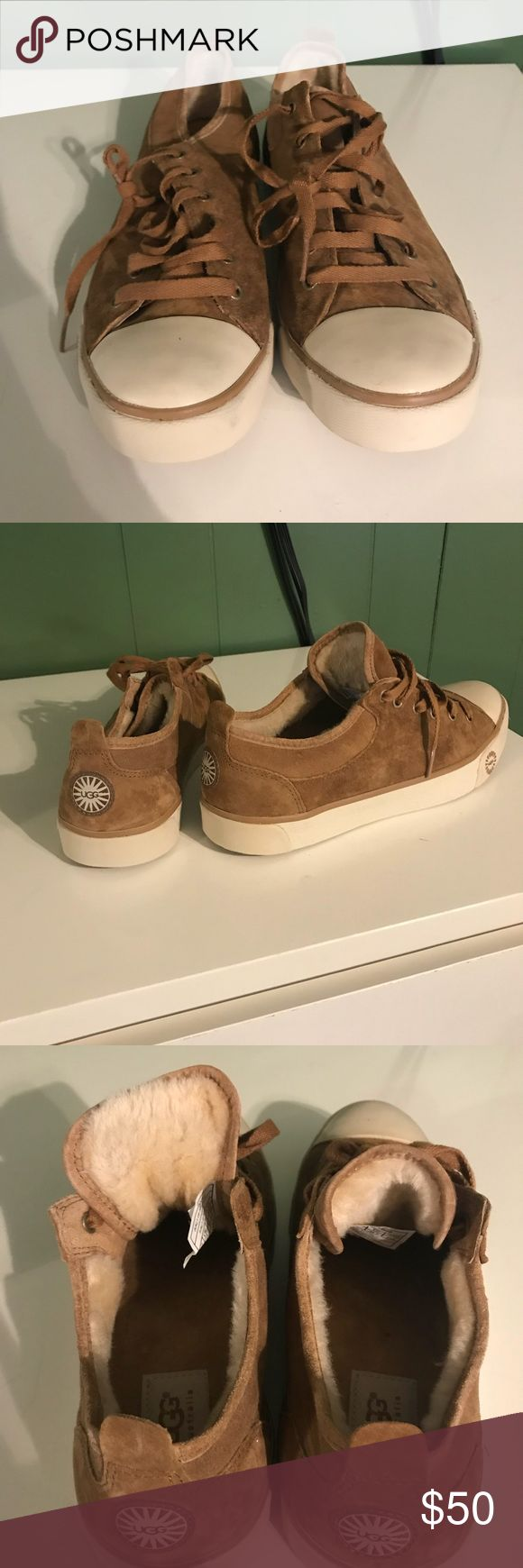 Authentic Ugg sneakers Tan suede UGG sneakers with fur lining. Women's size 8 1/2. Never worn. UGG Shoes Sneakers