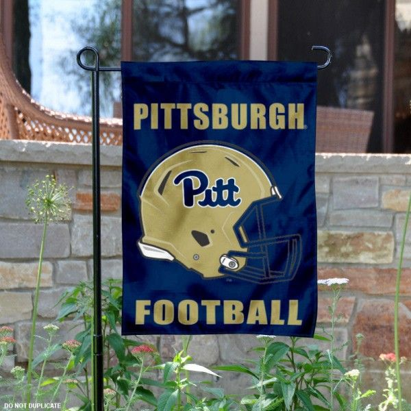 University of Pittsburgh Football Helmet Garden Banner is 13x18 inches in size, is made of 2-layer polyester, screen printed Panthers athletic logos and lettering...