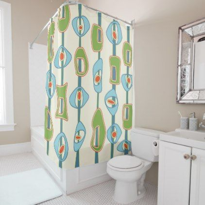 Mid Century Modern Blobs In Lime Green And Blue Shower Curtain