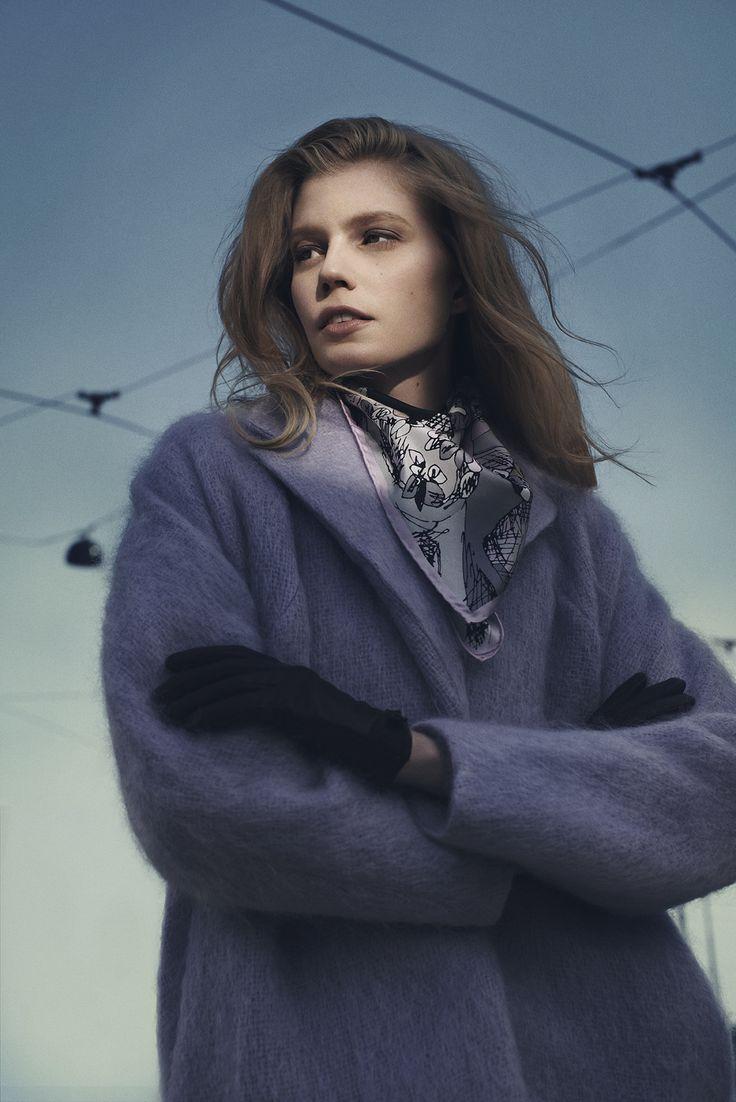 "Autumn Collection 2014. Silk scarf ""Magical Moment"" by Marja Kurki Finland. Model: Saara"