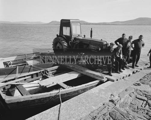 Tractor being transported onto the Valentia -1964