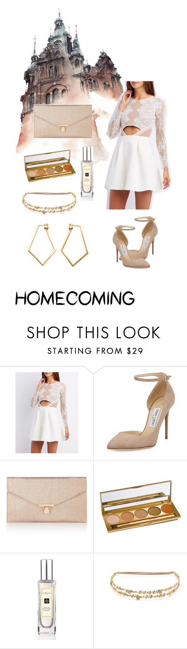 """""""Homecoming 🔆"""" by stella-lam ❤ liked on Polyvore featuring Charlotte Russe, Jimmy Choo, Accessorize, Jane Iredale, Jo Malone, J.Crew, Dutch Basics and Homecoming"""