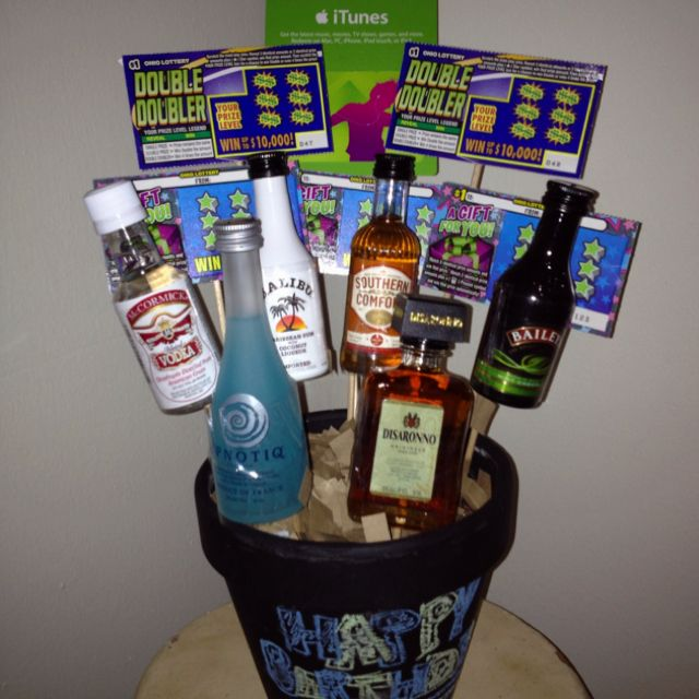 """I like to call it a """"BROquet"""" lol a bouquet for men! Fill it with scratchers & mini liquor bottles, etc.  Great for birthdays or special occasions/holidays :)"""
