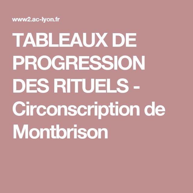 TABLEAUX DE PROGRESSION DES RITUELS - Circonscription de Montbrison
