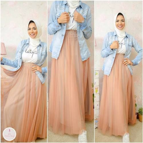 peach maxi skirt outfit- Summer hijab fashion for teens http://www.justtrendygirls.com/summer-hijab-fashion-for-teens/