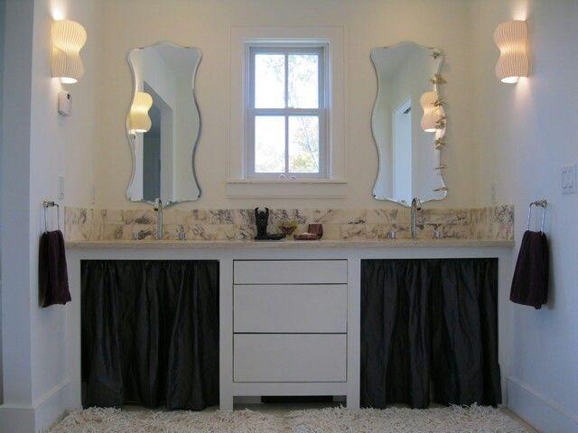 Pic On Master bath vanity with marble backsplash eclectic bathroom