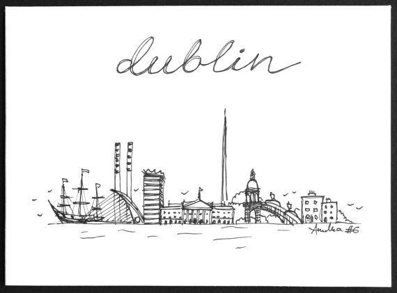 Hand-drawn A6 greeting card Dublin Skyline by MadebyAnulka