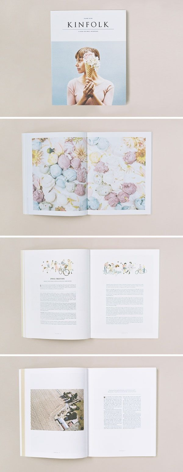 This is such a beautiful and charming layout design by Kinfolk Magazine. It…