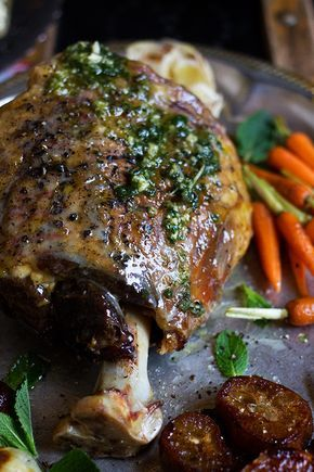Roasted Leg of Lamb (cooked low and slow, 7 hours)