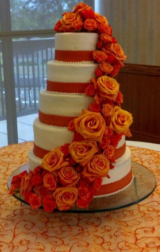 Burnt Orange Brown Wedding Cakes