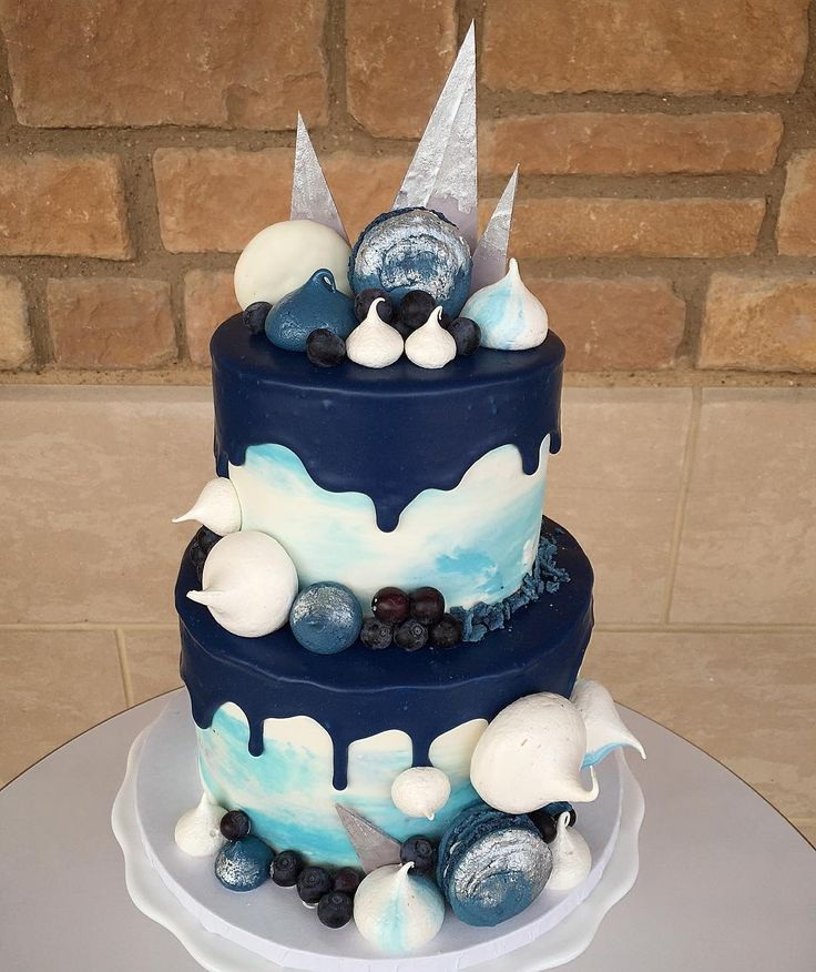 Beautiful Navy Light Blue And White Drip Cake For A Baby