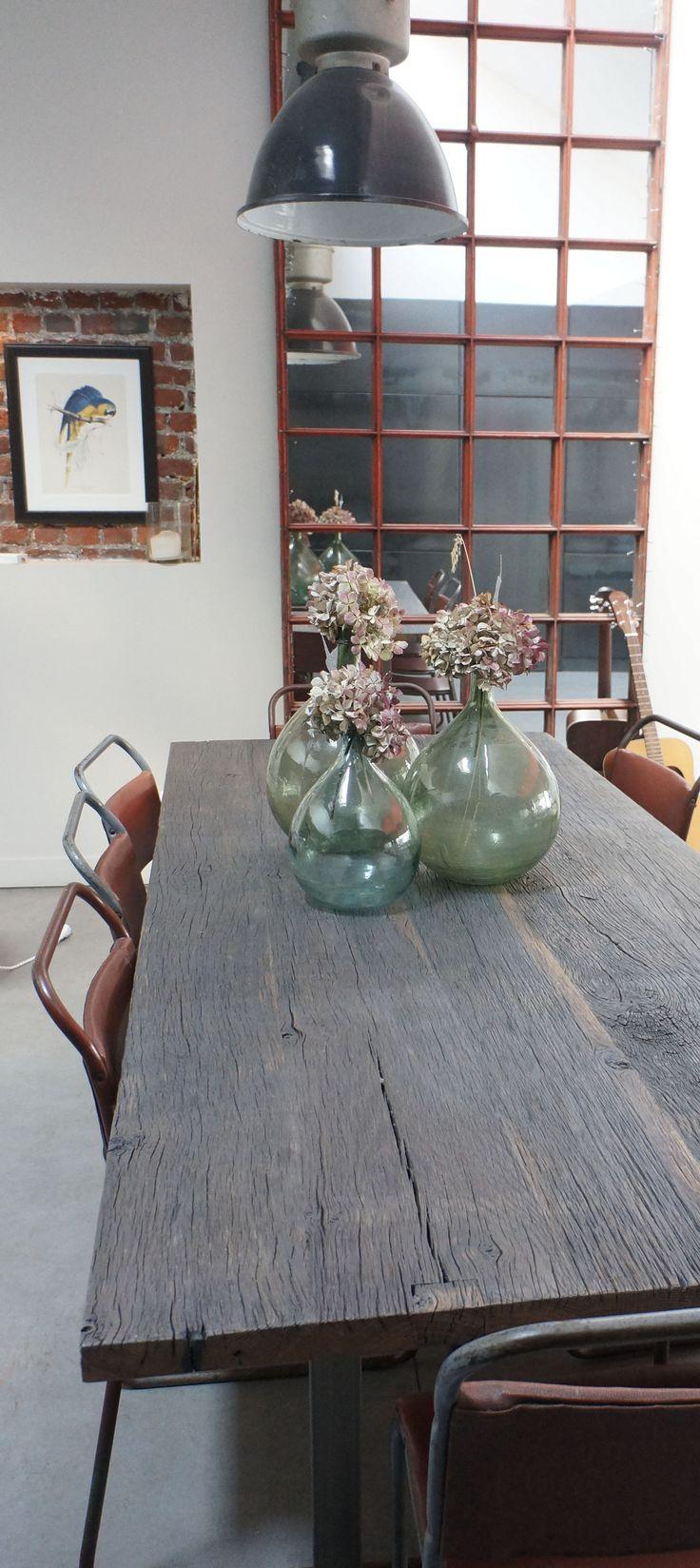 #studiofanchon #loft #lille #tablechene #damejeanne #lampeatelier #miroir #industriel #vintage