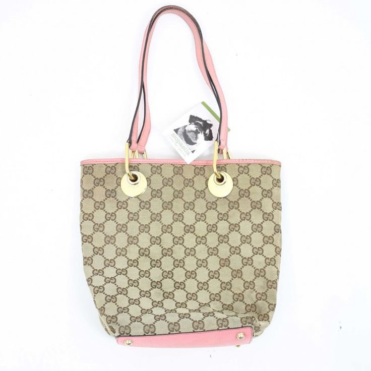 Gucci Monogram Canvas Handbag with Pink Leather Trim