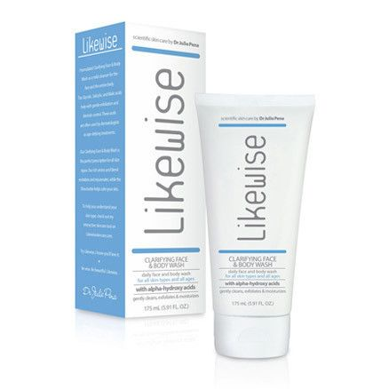 Likewise Clarifying Face & Body Wash – great if you want some anti-aging properties while battling impurities and controlling blemishes. Perk: a light citrus scent to refresh you! #skincare #cleansing
