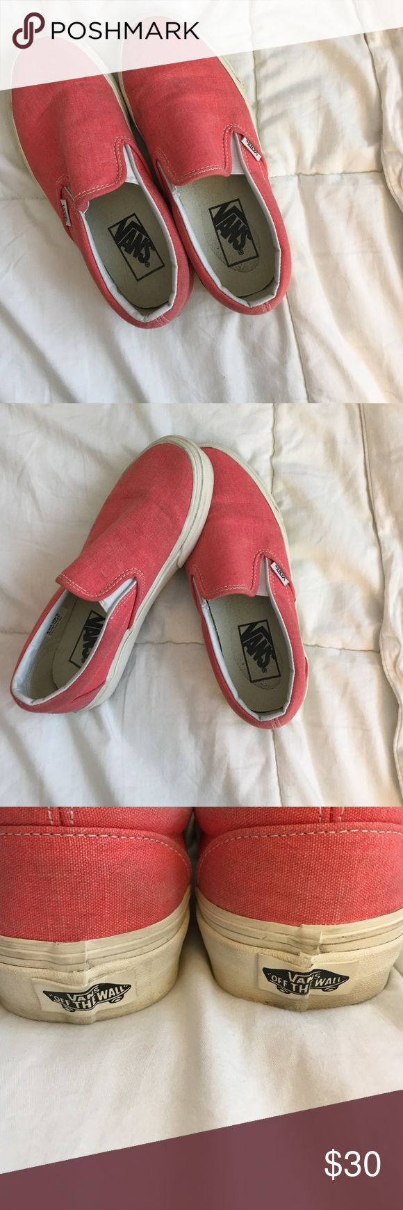 Coral Vans slip-ons In good condition coral color vans slip ons size 6.5. Vans Shoes Sneakers