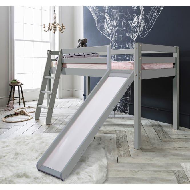 Thor Mid Sleeper Cabin Bed with Slide in Silk Grey | Noa & Nani