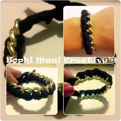 bracciale catena oro e fettuccia elastica nera
