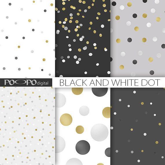 Zwart-wit digitale papier goud stip grijs grijs gestippelde patroon polka dots confetti verspreid willekeurige elegante scrapbooking instant download