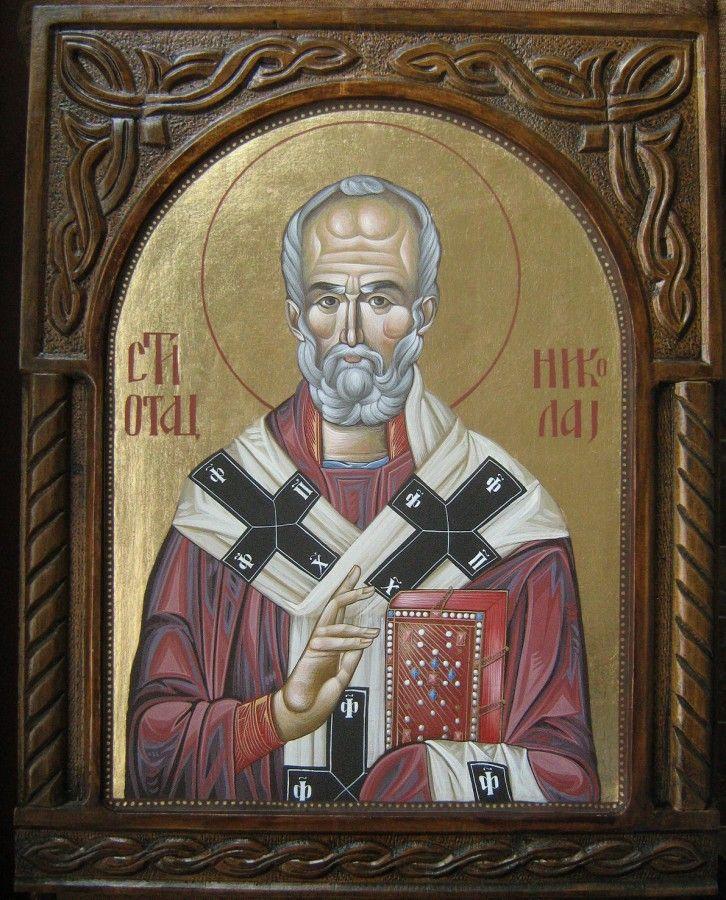 Свети Никола, јајчана темпера на липовој дасци са рамом у дуборезу, дим. 50x40cm, злато, ЦЕНА: 36000 РСД.