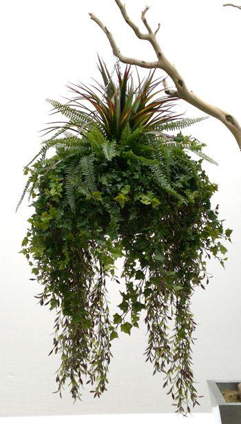 Hanging Basket Plants | Artificial Hanging Basket - Green Foliage Basket, large size for ...