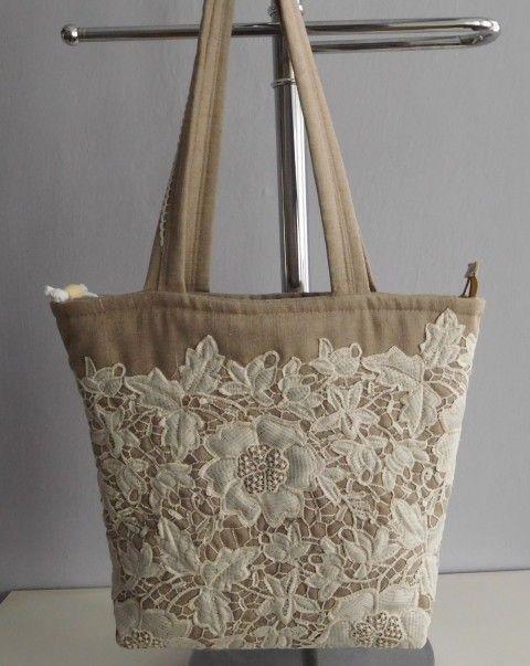 Simira - Režná kabelka s krajkou - patchwork.mirka
