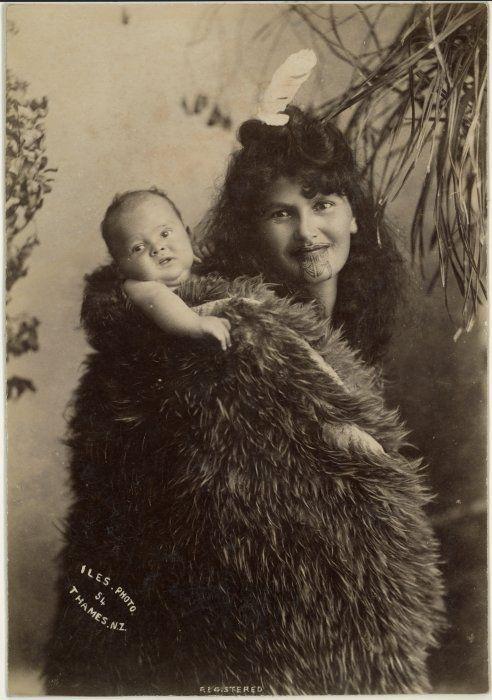 Maori woman and baby