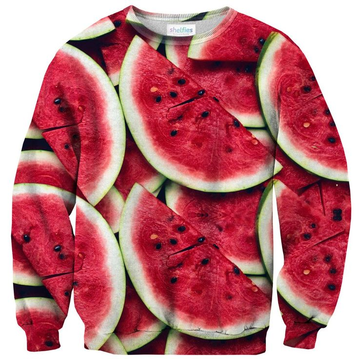 Sweatshirts - Watermelon Sweater  We're not sure what's better... the thought of a juicy slice of watermelon right now or the eye-popping red of this sweater. Either way, this melon's flesh has got us craving some sweet red.