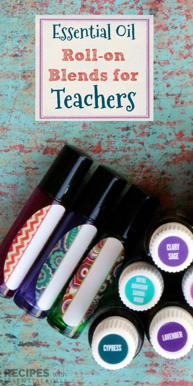 Essential Oil Roller Blends for Teachers from RecipeswithEssentialOils.com