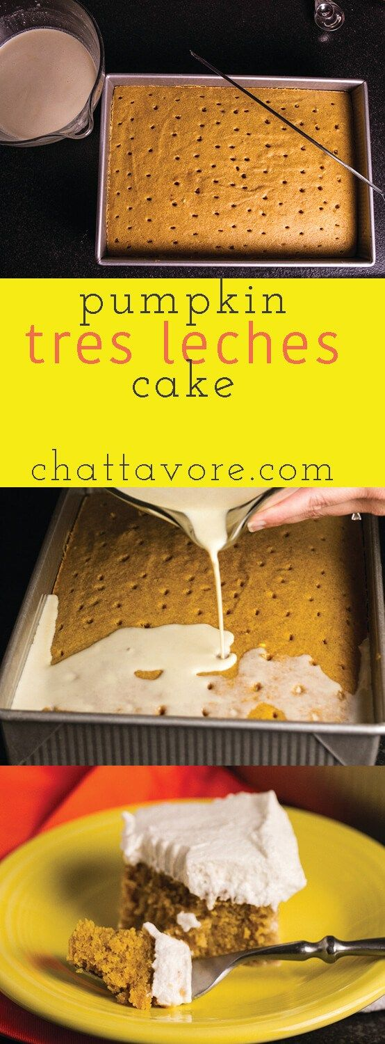 Pumpkin tres leches cake has the traditional flavors of the season-pumpkin and spices-with all the gooey goodness of a tres leches cake!   chattavore.com